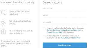 Crear una cuenta en eToro