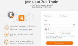 Cómo abrir una cuenta en ZuluTrade